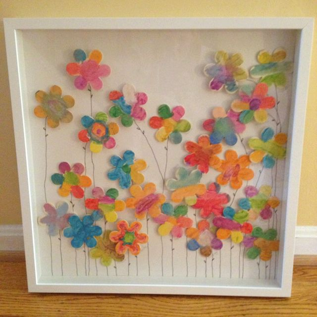 Teachers end of school year gift by kindergarten students. Each student decorates a flower....and then you frame it :)
