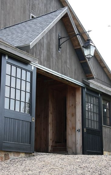 Beautiful gray barn - great design concept for garage. Love the doors. Our future barn replacement.