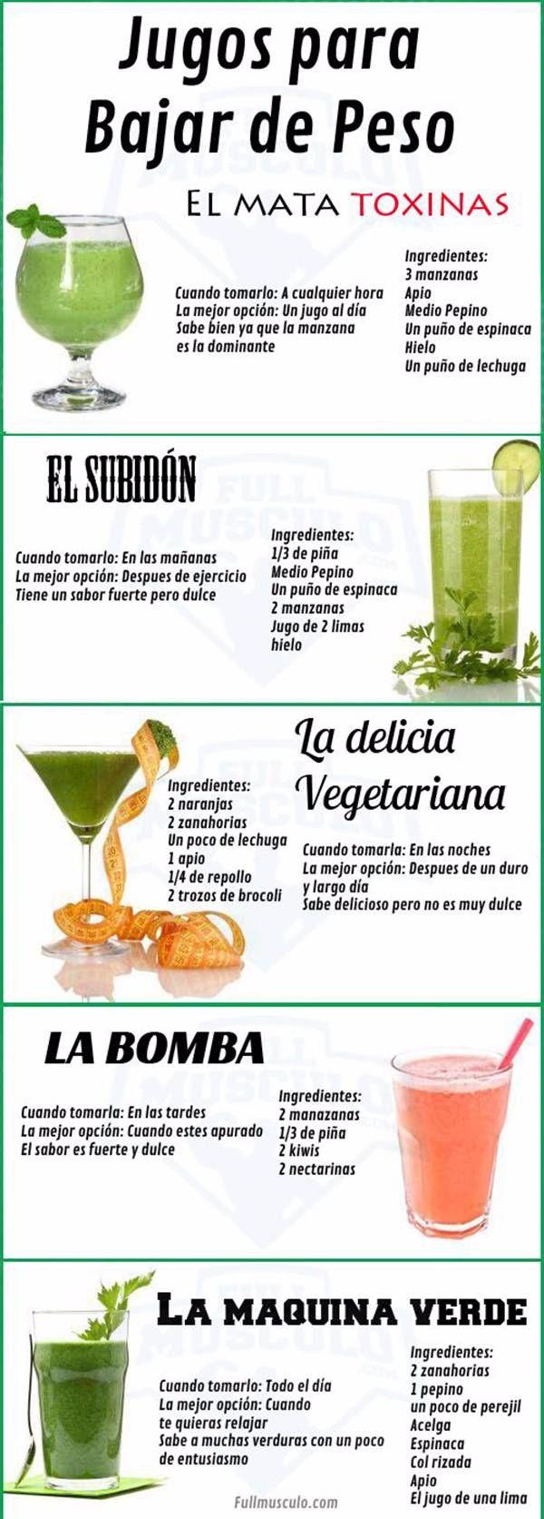 Jugos verdes variados para completar la dieta de perdida de peso. #infografías #salud #jugosverdes