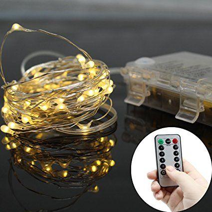 Micro Lichterkette Batteriebetrieben mit Silberdraht 5M 50 Lichter, IP 65 Warmweiß --- (2 Fernbedienung Batterie Enthalten! )