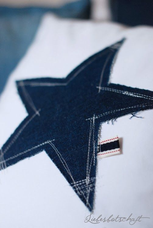 Denim star-Kissen DIY + Adventskalender