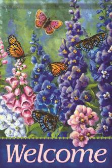 Welcome/Butterfly & Delph Garden Flag FlagTrends CLASSIC FLAGS by Carson