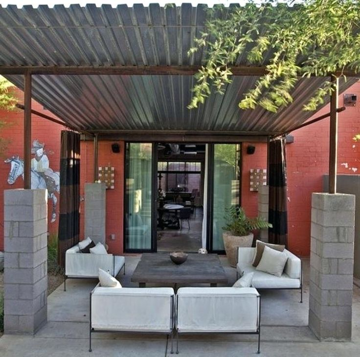 Pergola With Metal Roof Corrugated Metal Shade Structure