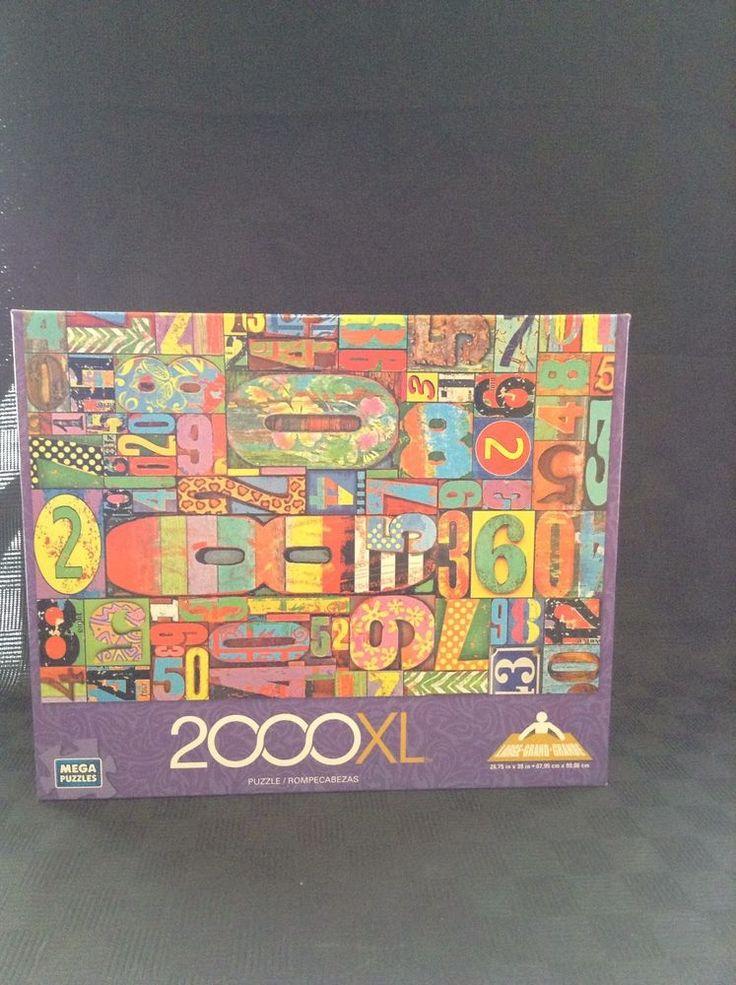NIB Mega Puzzles 2000 Piece Vintage Numbers Colorful Art Jigsaw Puzzle #MegaPuzzles