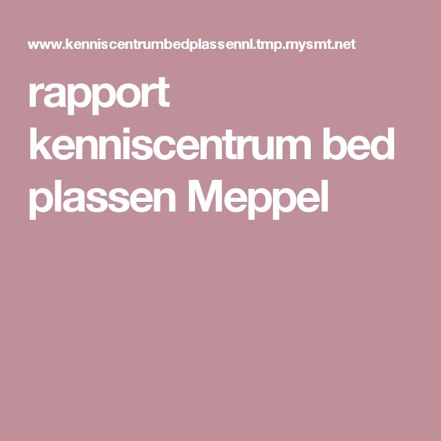rapport kenniscentrum bed plassen Meppel