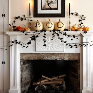 My Delicious Ambiguity: DIY Fall/ Halloween DecorFireplaces Mantles, Halloween Mantels, Decor Ideas, Halloween Decor, Halloween Mantles, Fall Mantels, Halloweendecor, White Pumpkin, Holiday Decor