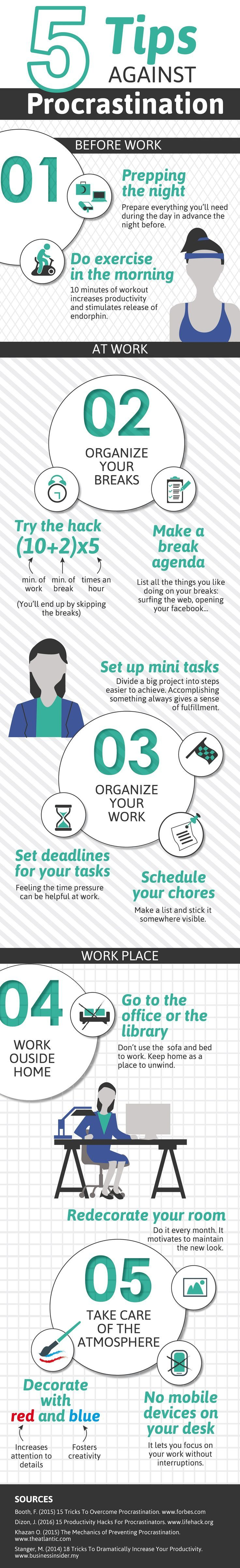 5 Tips against Procrastination #Infographic #TimeMangement