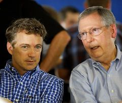 Rand Paul defends Mitch McConnell: C'mon, it's not like we're talking about Arlen Specter here/ posted on February 26>>>>>>Rand Paul was mentored by McConnell in KY.  He will also need at least $1 billion to run for president and will need establishment money to do so....don't pick on Rand over McConnell please.