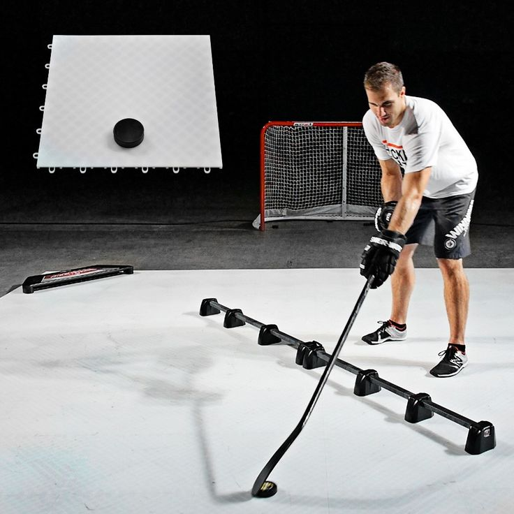 """Don't wait for rink time to practice. Build your own training zone at home with Hockey Dryland Flooring Tiles. These 18"""" x 18"""" tiles snap together easily and simulate the ice so you can work on passing, stickhandling and shooting. Assemble an entire floor in minutes!"""