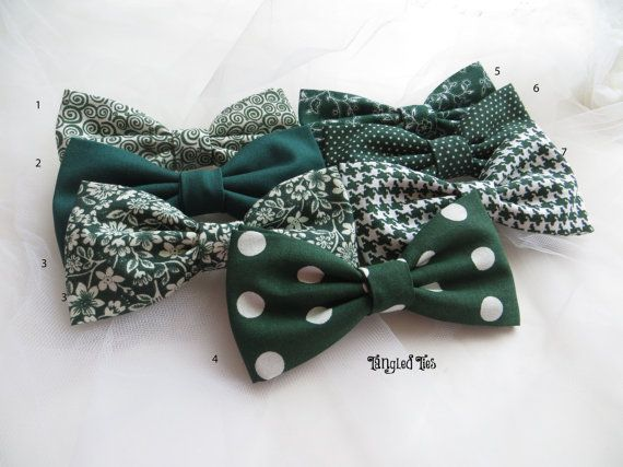 Hunter Green Wedding Bow Ties Emerald by TangledTiesBowTies                                                                                                                                                                                 More