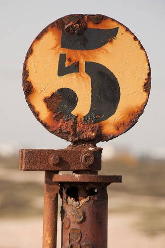 Rusty vintage industrial stencilled number 5 | typography