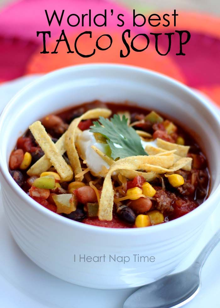 World's best taco soup at iheartnaptime.net ! This is a ONE pot dish and is less than 300 calories per bowl! It makes a great freezer meal too!