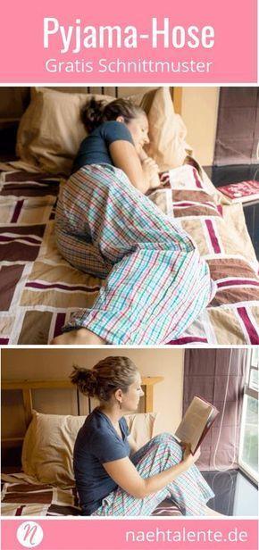Gratis Schnittmuster Pyjama-Hose oder Lounge-Pant für Damen. PDF-Schnitt zum Drucken in Gr. XXS - XXL. ✂ Nähtalente.de - Magazin für kostenlose Schnittmuster und Hobbyschneiderinnen ✂ Free sewing pattern for woman pajama oder lounge-pant. PDF-sewing pattern for print at home in size XXS - XXL ✂ Nähtalente.de - Magazin for sewing and free sewing patterns ✂ #nähen #freebook #schnittmuster #gratis #nähenmachtglücklich #freesewingpattern #handmade #diy