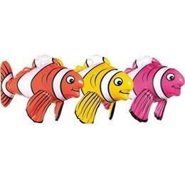 Opblaasbare vis -  Een opblaasbare (lachende) vis! Leuk als decoratie op een tropisch feest! Lengte: 43cm.
