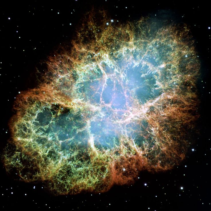 The Crab Nebula is one of the most intricately structured and highly dynamical objects ever observed. The Crab Nebula is a six-light-year-wide expanding remnant of a star's supernova explosion. Japanese and Chinese astronomers witnessed this violent event nearly 1,000 years ago in 1054. The rapidly spinning neutron star embedded in the centre of the nebula, only barely visible in this Hubble image, is the dynamo powering the nebula's eerie interior bluish glow.