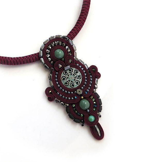Marsala necklace burgundy cranberry necklace soutache by sutaszula