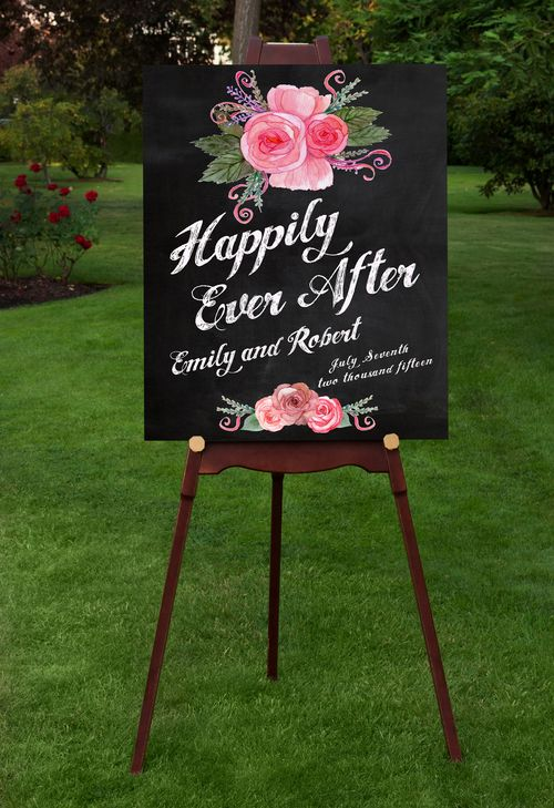 Wedding Welcome sign poster for your special day. An elegant and stylish way to welcome your guests. Modern type, with colorful spring flowers on faux chalkboard background and faux chalk text. Personalized with your names and wedding date.