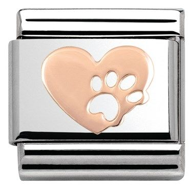 Nomination Rose Gold Heart With Paw Print Charm | Argento.co.uk £11