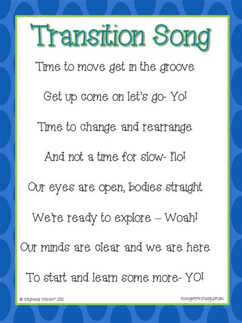 Song for Transitions in the classroom. Like this idea to get them ready to line up. Sing it before, line up and hopefully have little discipline issues in the hallway. Could use for any transition though!