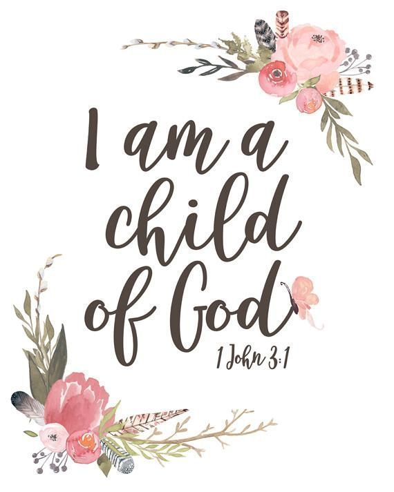 I am a Child of God - Girl's Nursery Print, Bible Verse Wall Art with Watercolor Florals for a Vintage Boho Nursery #God