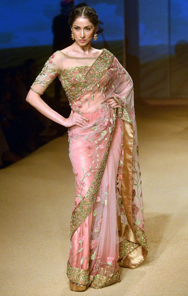 Ashima & Leena Jashn Collection Pink & Gold #Saree With Floral Motif Embroidery At BMW IBFW 2014.