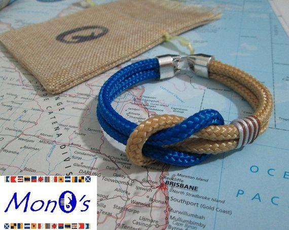 Bracciale con chiusura in Zamak  Azzurro e beige - Men's nautical bracelet with zama clasp