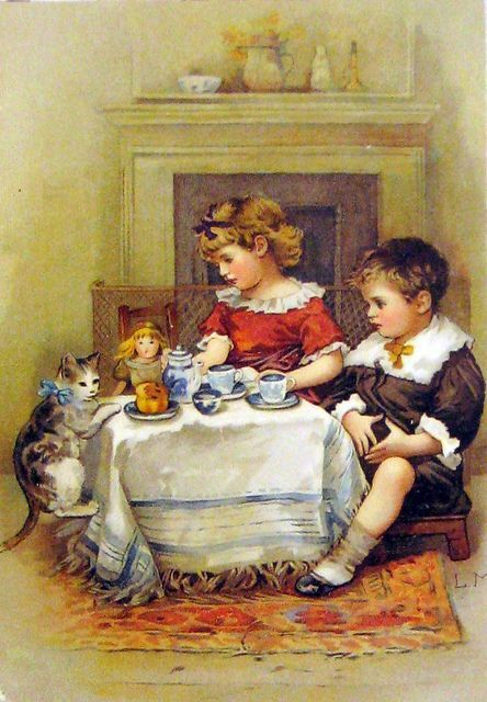 """ERNEST NISTER (1842-1909). """"Bess and Bertie at tea"""" - Illustration from the book """"A Day in the Country"""",  1891 . with a doll"""
