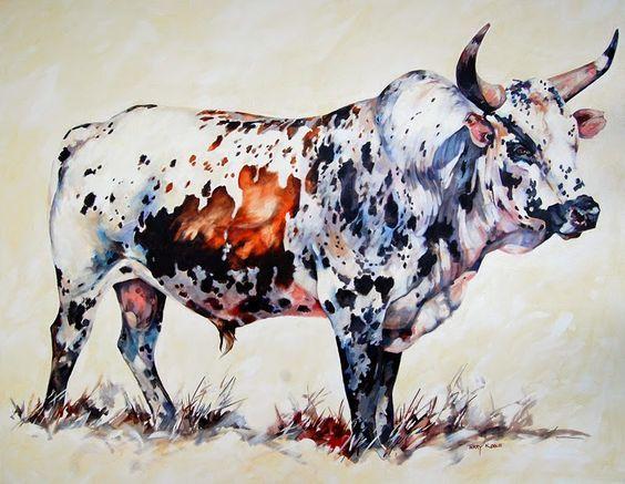 "Terry Kobus - Nguni Cattle Paintings - ""Tri Colour Nguni Bull&quot…"