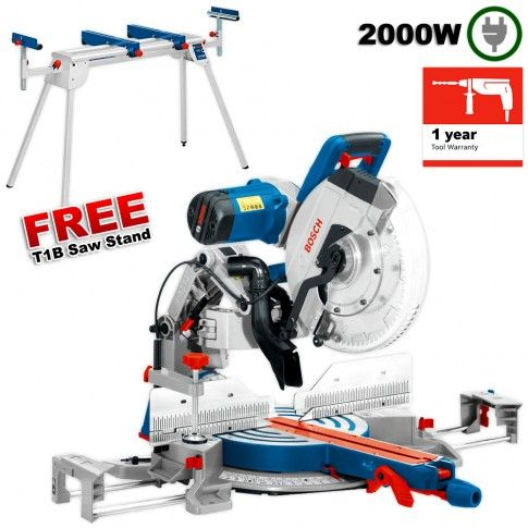"Bosch GCM 12 GDL 2000W 305mm (12"") Slide Compound Mitre Saw with T1B Saw Stand"
