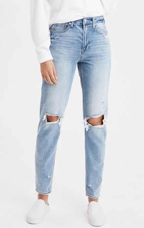 ae9b5f871dd $ 49.99 | American Eagle Mom Jeans Size 6 Destroyed Ripped Distressed 27  Inch Inseam ❤ #american #destroyed #ripped #distresse… | Women's fashion  (15) ...