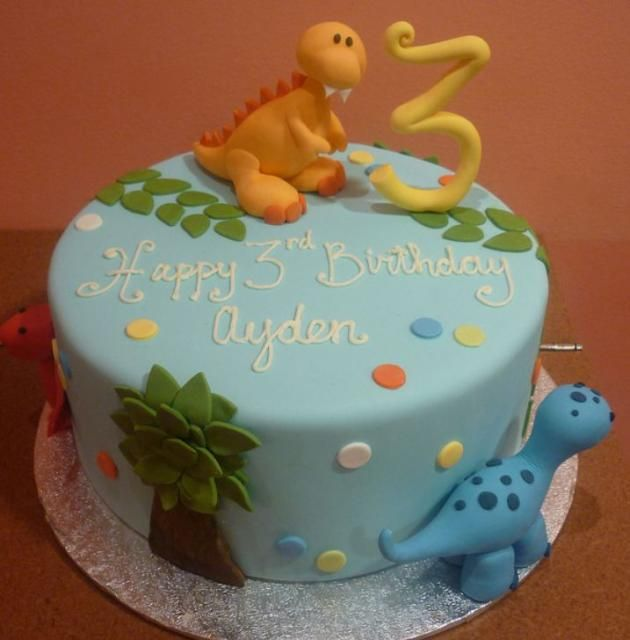 Powder blue round Dinosaur theme birthday cake for 3-year-old.JPG