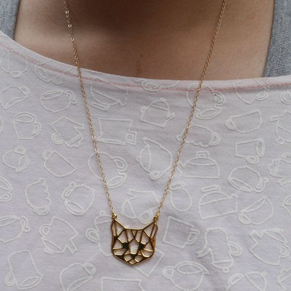 Cat face Origami Necklace Cat necklace Cat by glorikamishop