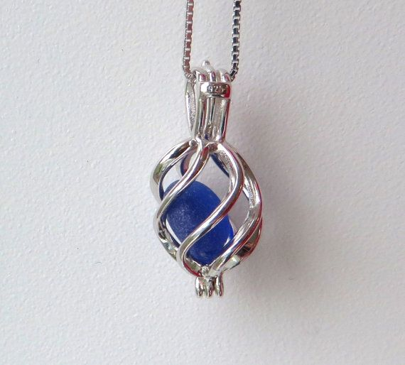 Cobalt Blue Sea Glass Sterling Silver Cage Flower by WaveofLife #locket #cage #necklace #seaglass #beachglass #jewelry #necklace #cobalt #cobaltblue #blue #waveoflife
