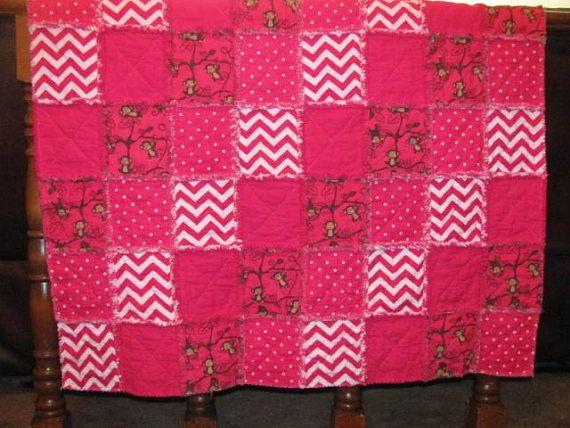 Playful Monkeys and Bright Pink  Baby Blanket Toddler Blanket Rag Quilt