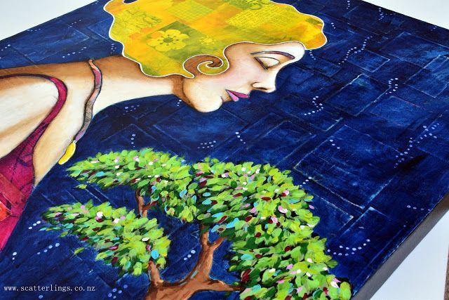 The Gift - mixed media painting of Gaia holding a tree
