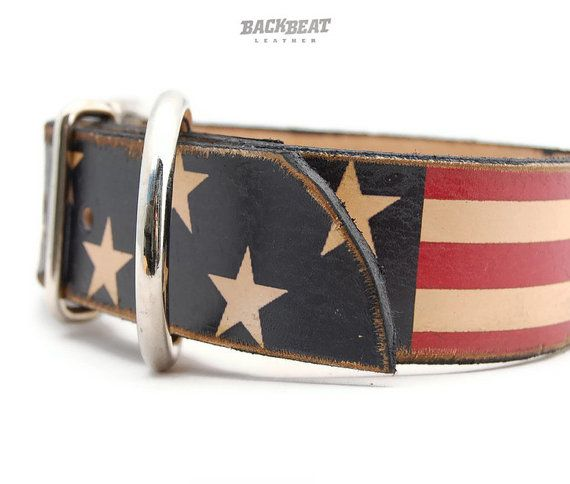 2 inch Wide Leather dog collar - Stars and Straps :: Maybe for when Remington is all grown up??