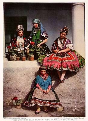 1932 Color Print Decs Tolna Hungary Magyars Native Women Cultural Costume Dress