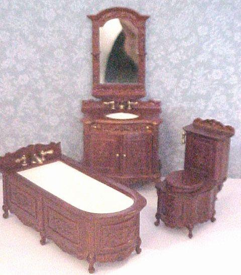 Victorian Dollhouse Bathroom Set By Bespaq, Walnut