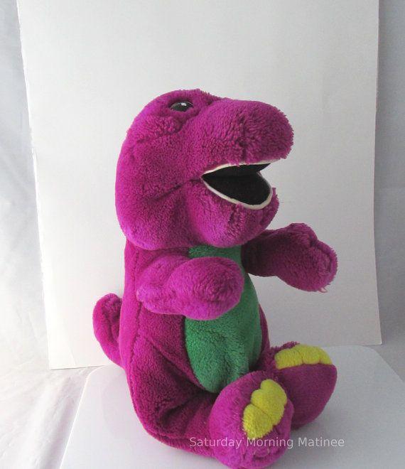 Barney Purple Dinosaur Plush Stuffed Toy 1990s by SaturdayMorningM, $19.00