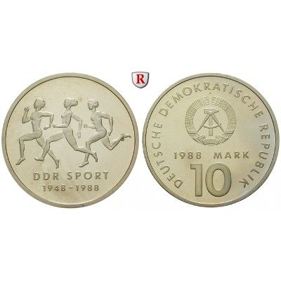 DDR, 10 Mark 1988, Turn- und Sportbund, PP, J. 1623: Kupfer-Nickel-10 Mark 1988. Turn- und Sportbund. J. 1623; Polierte Platte,… #coins