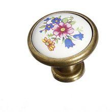 Vintage cerâmica armário de bronze antigo knob gaveta puxa cópia da flor de…