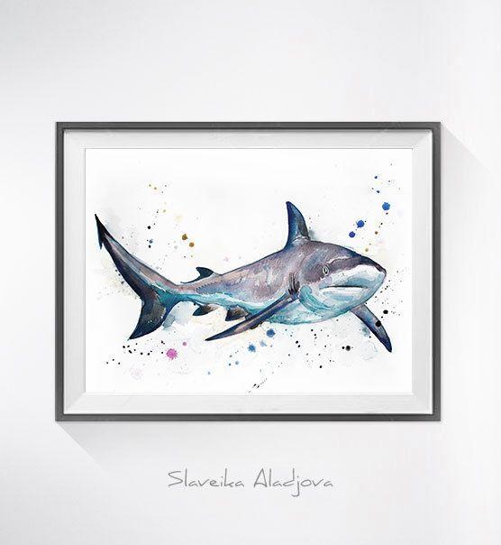 Art de requin de récif gris peinture - aquarelle originale, illustration animale, animaux aquarelle, peintures d