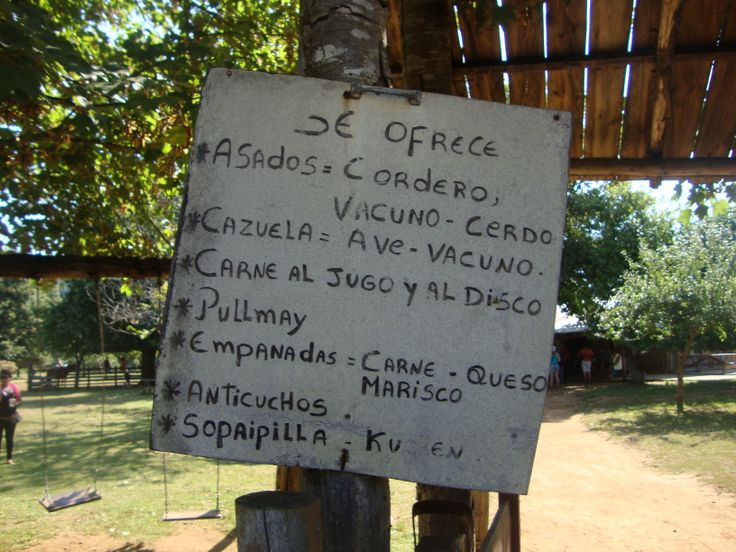 Menú del restaurant Los Castaños, en Punucapa