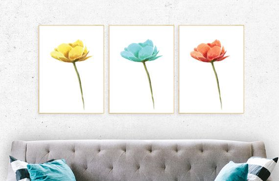 Floral wall art, tulip set canvas print, floral home decor set of 3, new house decoration ,canvas wall art, wall canvas ,flower set painting