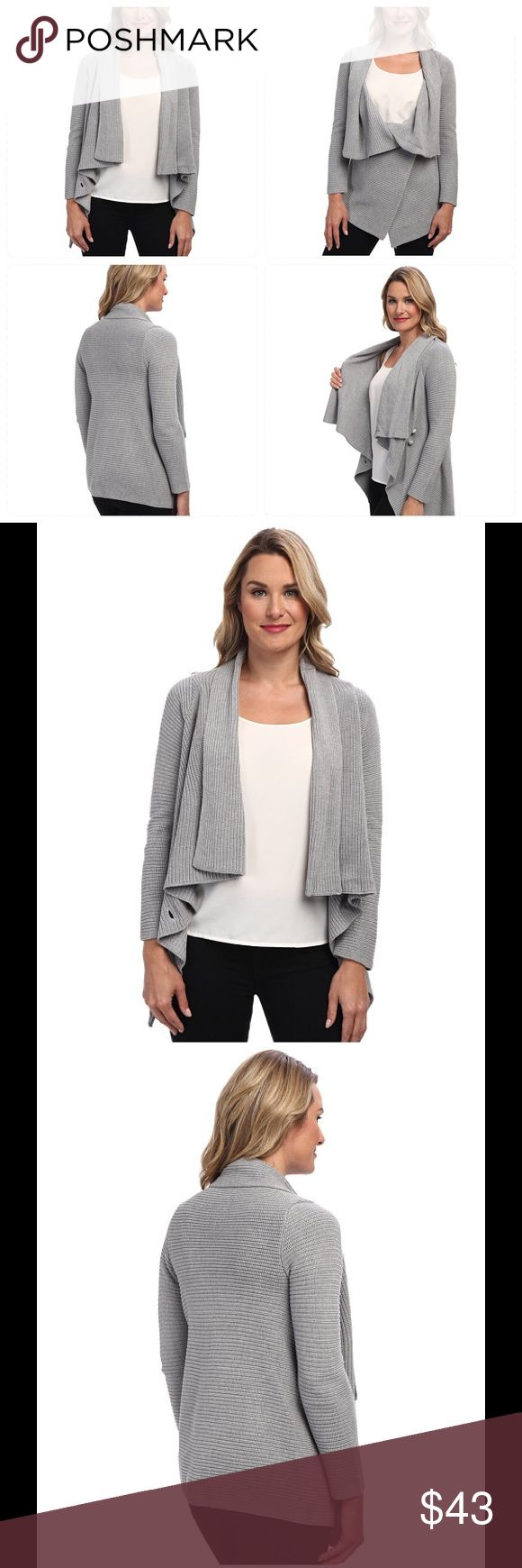 Calvin Klein sweater sale 🎊 Calvin Klein Size Chart Draped silhouette. Ribbed texture all throughout. Open-front design. Long sleeves. Handkerchief hemline. 100% acrylic. Machine wash cold, tumble dry low. Imported. Measurements: Length: 28 in Calvin Klein Sweaters Cardigans