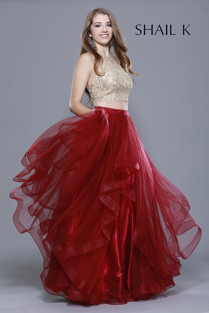 9235bfdaf7db Two Piece Embellished Bodice Burgundy Tiered Skirt Style Prom Dress 33907