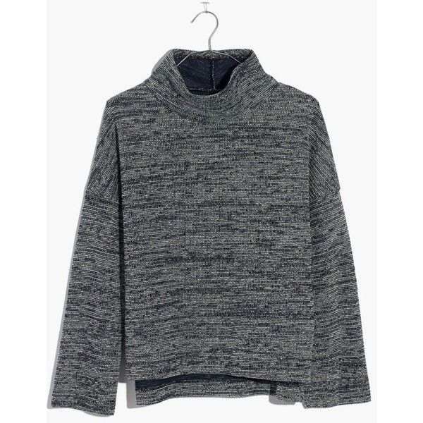MADEWELL Mockneck Pullover Top (89 CAD) ❤ liked on Polyvore featuring tops, marled navy, slouchy tops, navy blue top, sweater pullover, textured top and mock neck top