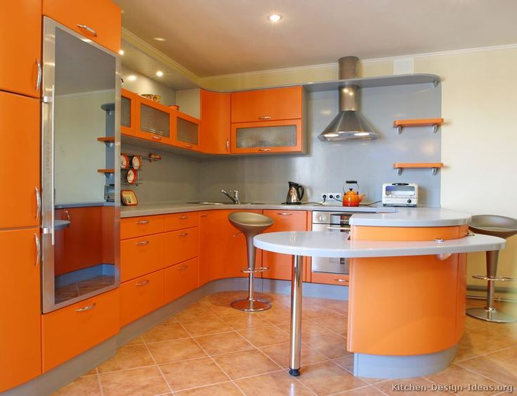kitchen idea of the day a gallery of modern orange kitchens colorful - Colorful Kitchen Design
