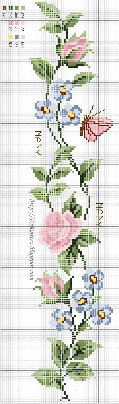 Roses and butterfly cross stitch pattern and color chart.