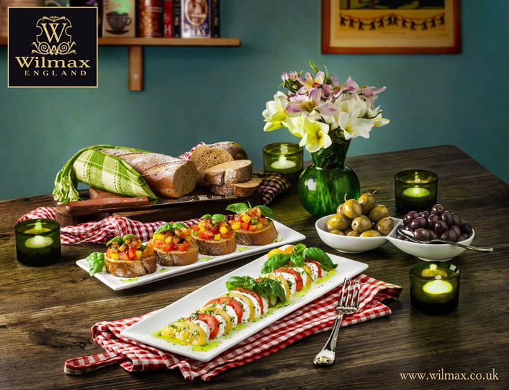 СULINARY TRAVELS WITH WILMAX  ITALY. Crispy bruschetta with tomato and basil and Caprese salad are popular and delicious antipasti. WILMAX recommends using rectangular dishes for serving these appetizers. WILMAX rectangular dishes will become essential part of your table setting!